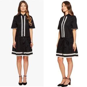 Kate Spade Broome Street Black Lace Inset Drop Waist Dress Medium